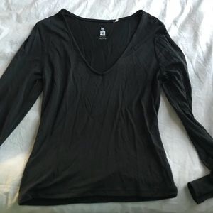 Pacsun Me to We Black V-Neck Long Sleeve Top
